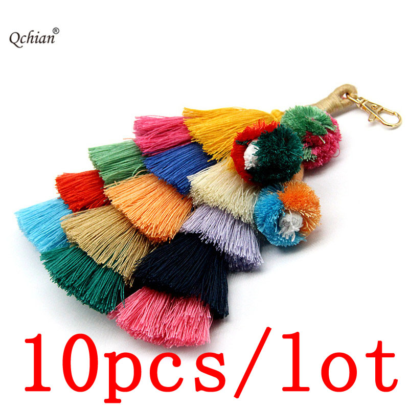 10pcs/lot Handmade Bohemian Style Cotton Large Tassel Backpack Pendant Festival Celebration Carnival Decorative Jewelry Keychain Smoothing Circulation And Stopping Pains