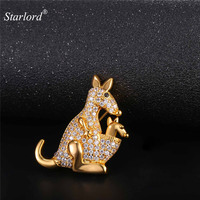 Australian Kangaroo Brooch Gold Silver Color AAA Cubic Zirconia Cute Brand Brooch Jewelry For Women Gift