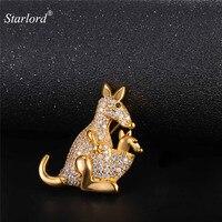 Australian Kangaroo Brooch Gold Silver Color AAA Cubic Zirconia Cute Brand Brooch Jewelry For Women Gift