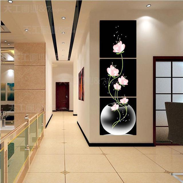 3 panel hot sell beautiful pink flower modern wall painting home decor canvas pictures for living