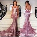 Lantejoulas Longo Vestido de Noite Formal 2016 Sexy Sereia Pageant Partido Prom Vestidos