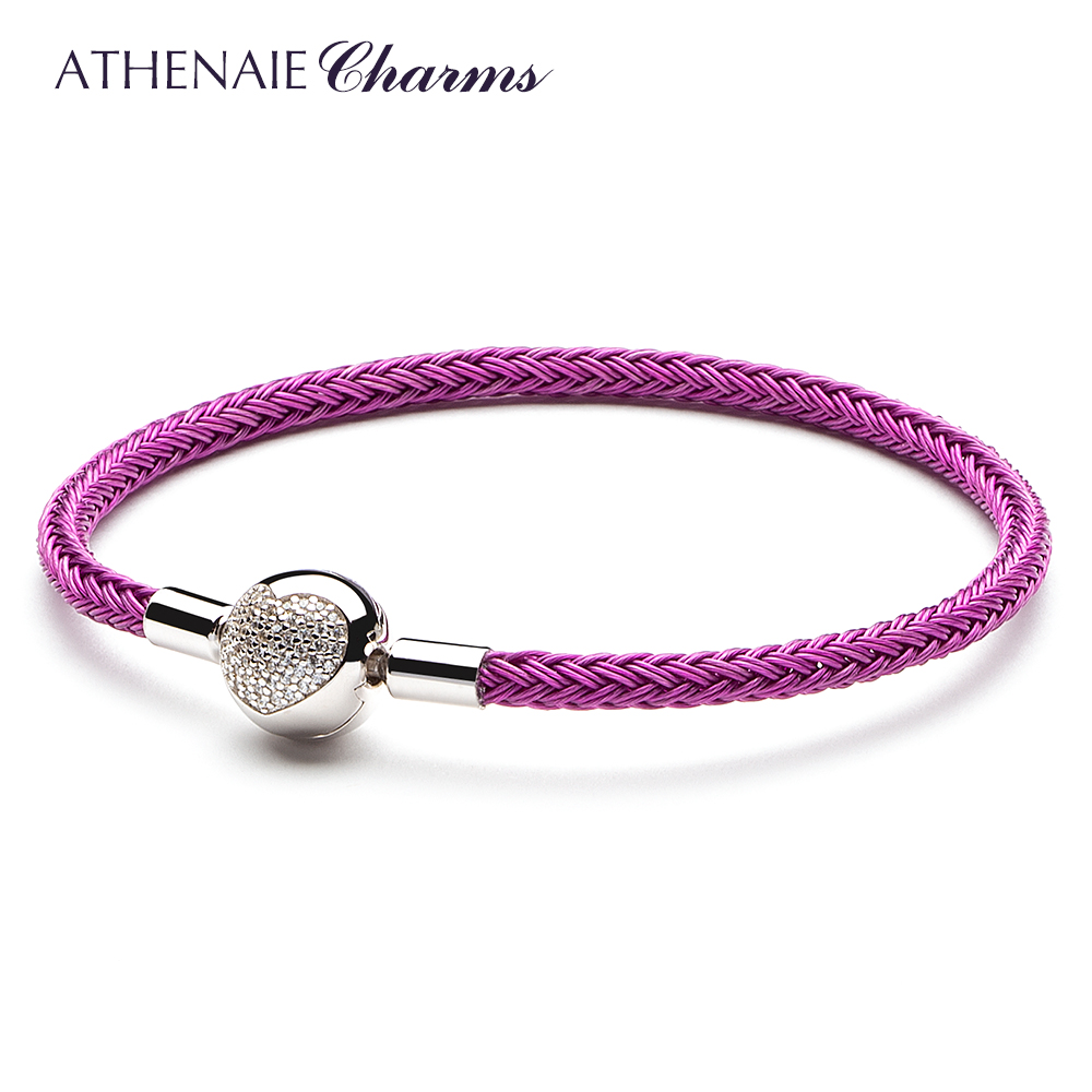 ATHENAIE Colorful Wire Charms Bracelet with 925 Sterling Silver CZ Love Heart Clasp for Women Fit Charm Beads DIY Gift Rose RedATHENAIE Colorful Wire Charms Bracelet with 925 Sterling Silver CZ Love Heart Clasp for Women Fit Charm Beads DIY Gift Rose Red