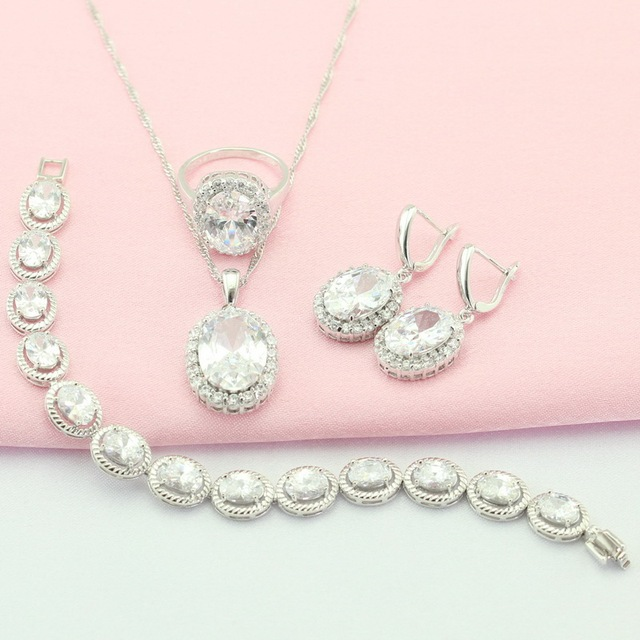 WPAITKYS White Stones Silver Plated Jewelry Sets For Women Wedding Decorations Necklace  Earrings Bracelet Ring Free Gift Box