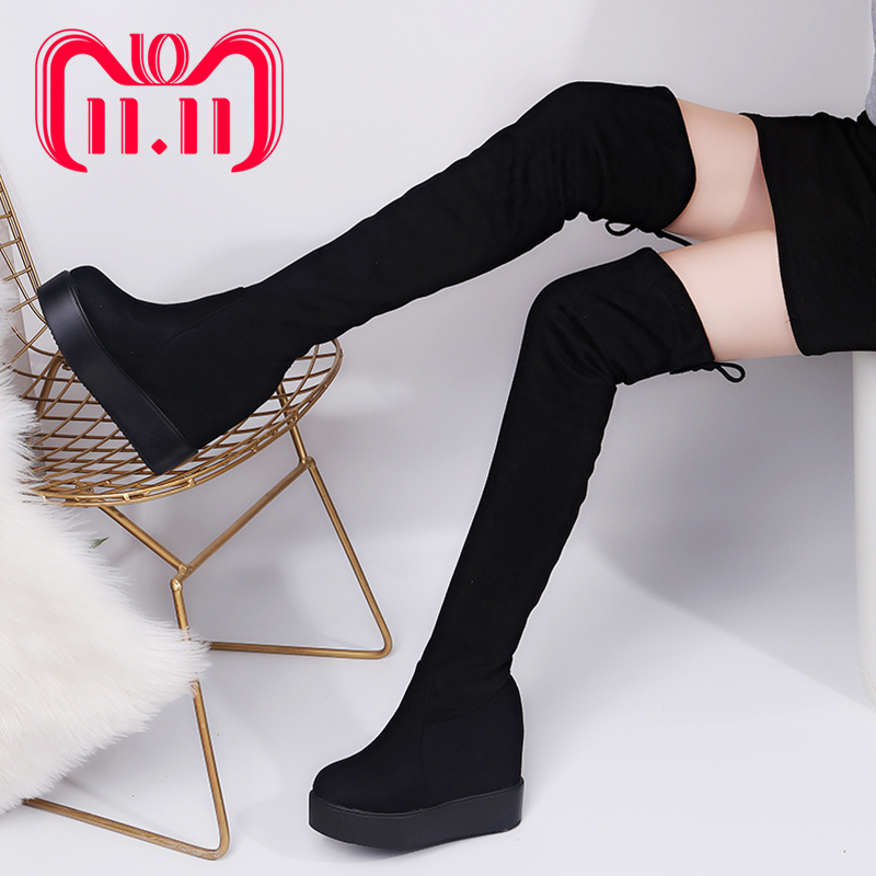 Moxxy Thigh High Boots Female Platform Winter Boots Women Over the Knee Boots Suede Long Boots High Heels Fur Plush Shoes Woman memunia big size 34 43 over the knee boots for women fashion shoes woman party pu platform boots zip high heels boots female