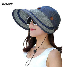 SUOGRY New Retail Fashion Women Wide Large Brim Floppy Summer Beach A Sun Hat Straw Button Cap Hats For