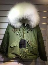 Fashion new beading style white faux fur lined coats big raccoon fur collar Mrs fur parka jacket