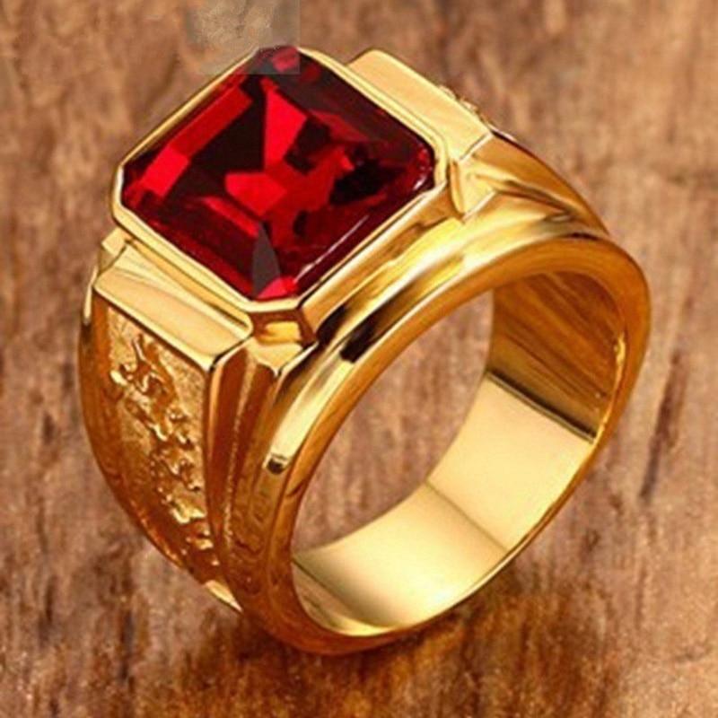 Punk Hip Hop grabado dragón Zircon anillo de sello Rojo Anillos de boda con cristal para las mujeres de los hombres de moda de la joyería de Boho Bague Anillos