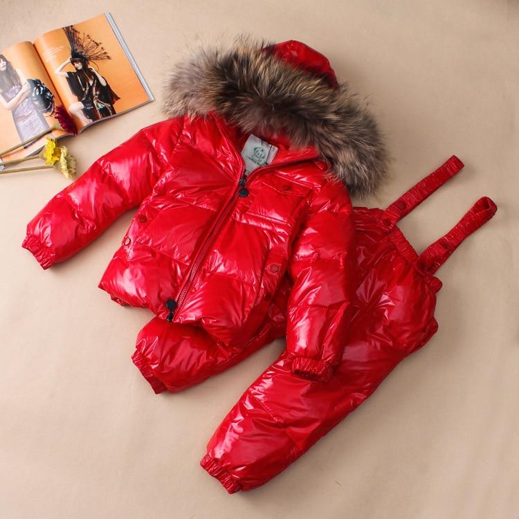 Russian Winter Snowsuit Coat 90% White Duck Down Hooded Belt Kids Set Fur Collar Winter Baby Girl Clothes