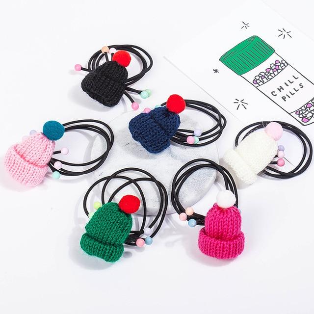 52175eb8db5e5 Elastic Hair Bands Knitting Wool Hat Hairbands Silk Tassel Hair Jewelry  Accessories Women Headwear HeadBands Rubber Rope