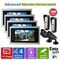 """Homefong Videoportero Videoportero Sistema de Monitores 10 """"4V2V2 CCTV Kit de Seguridad Puerta de Entrada De Control de Acceso Impermeable Del Metal"""