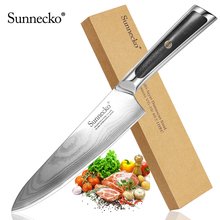 Sunnecko Profession 8 inch Chef Knife Japanese VG10 Core Steel Blade Razor Sharp Damascus Kitchen Knives G10 Handle Meat Cutter