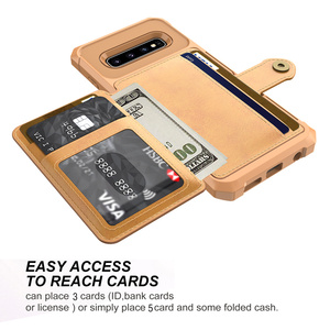 Image 4 - Deluxe Multi function Leather Wallet Cover for Samsung Galaxy S10 Plus S10e Card Holder Hybrid Silicone Bumper Back Cover