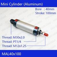 Free Shipping Barrel 40mm Bore100mm Stroke MAL40 100 Aluminum Alloy Mini Cylinder Pneumatic Air Cylinder MAL40