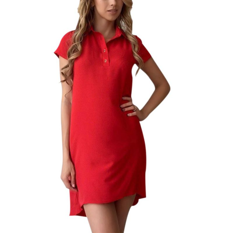 Casual Loose Dress 2018 Women Turn Down Collar Straight Fashion Elegant Mini Dress Summer Dress Short Sleeve Solid Party Dresses
