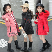 20 Degree Children Winter Jacket Girl Clothes Cotton padded Outerwear Kids Warm Thick Fur Collar Hooded Long Down Coats TZ376