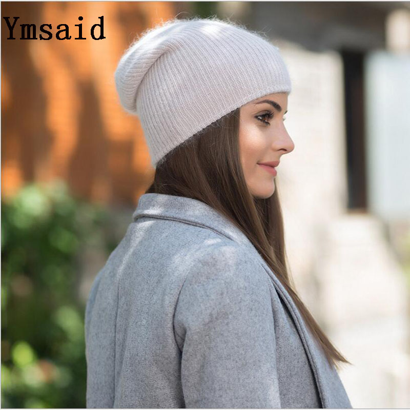 Ymsaid 2017 Winter New Wool Rabbit Knitted Beanies Hats For Women Casual Solid Color Skullies Hat Female Warm Ski Caps fibonacci winter hat knitted wool beanies skullies casual outdoor ski caps high quality thick solid warm hats for women