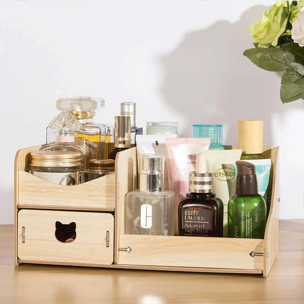 HECARE Holz Lagerung Box für Make-Up Home Office Desktop DIY Organizer für Lagerung mit Schublade 4 Farben Erhältlich Kleine Fall NEUE