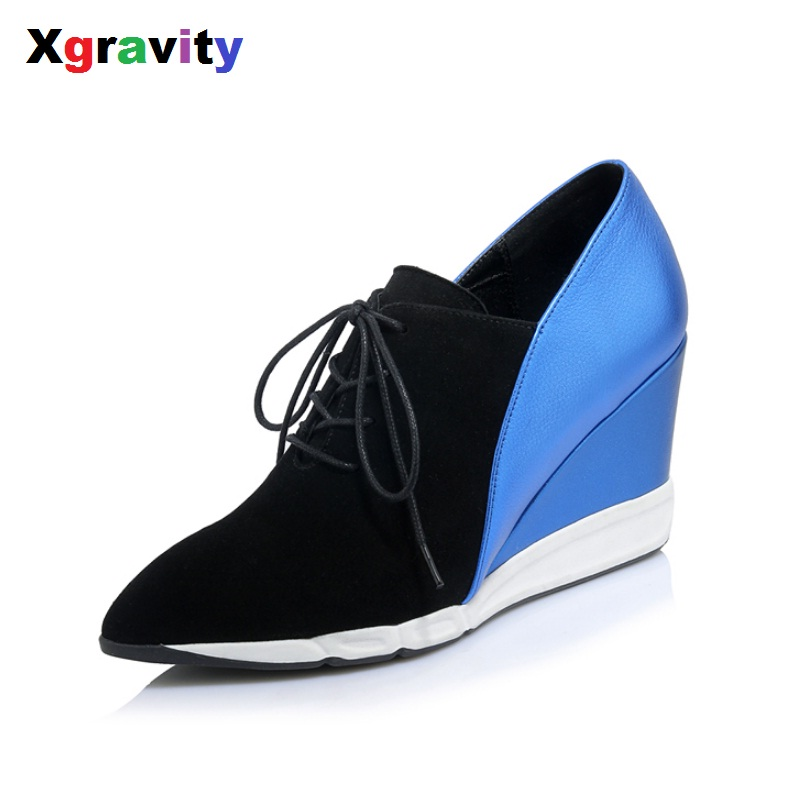 Xgravity Hot Sale Sheepskin Genuine Leather Wedge Shoes Lace Up Woman Fashion Wedges European American Autumn Ankle Shoes C267 2016 autumn spring shoes european american high heel wedges girl s wedding shoes genuine leather bridal wedge shoes c065