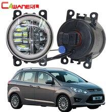 Cawanerl 2 X Car Styling 4000LM HA CONDOTTO LA Lampada Della Luce di Nebbia + Occhio di Angelo DRL 12 v Per Ford Grand C -Max MPV 2010 2011 2012 2013 2014 2015