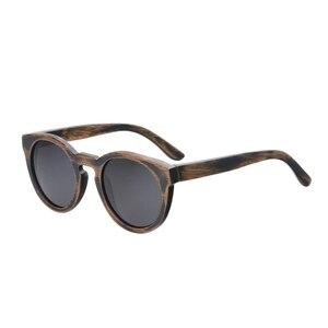 Image 2 - BerWer Round Frame Bamboo Sunglass 2020 Fashion Wooden Sunglasses Men Women Sun Glasses