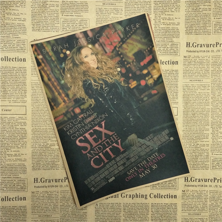 Sex and the City Sarah Jessica Parker Retro Poster Home Furnishing decoration Kraft Movie Poster Drawing core Wall stickers
