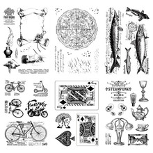 New Playing Cards Fish Stamp Rubber Clear Stamps Transparent Silicone Seal for DIY Scrapbooking Photo Album Decorative Crafts 4 6inches animals clear stamps seal for diy scrapbooking album crafts decor cards transparent stempels silicone stamp 2019 new