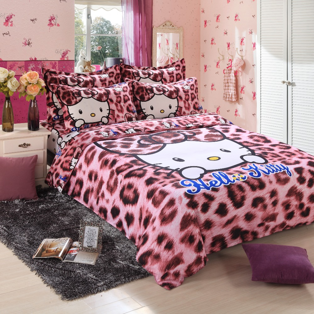Pink leopard print bedding - Hot Home Textiles Bedclothes Children Cartoon Leopard Pattern Hello Kitty Bedding Sets Duvet Cover Bed Sheet
