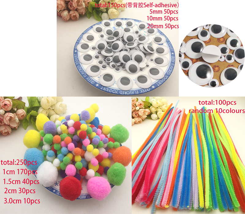 Self-adhesive Eyes Chenille Stems Pipe Cleaners Mixed Soft Round Shaped Pompom Balls Fluffy For Kids DIY Garment Hat Handcraft