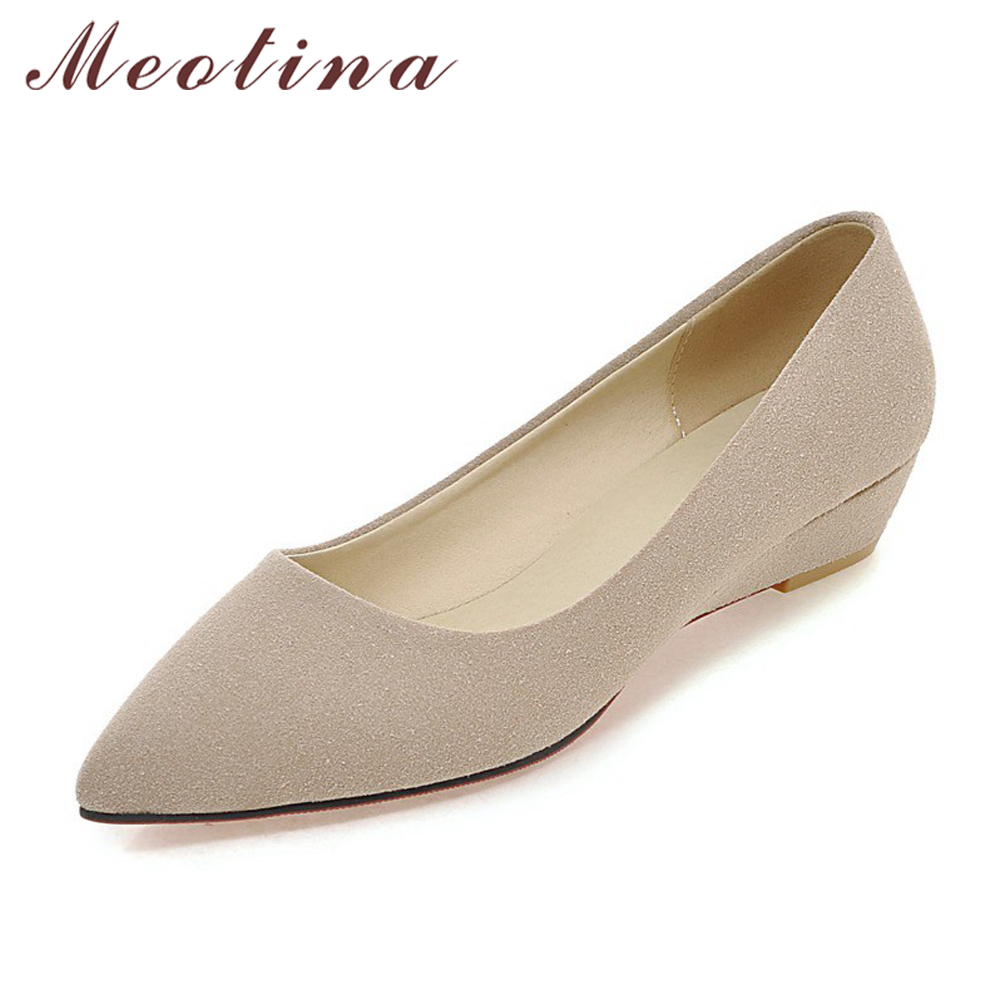 Meotina Shoes Women Wedge Heels Ladies Shoes Pointed Toe Ladies Pumps Ladies Work Shoes Wedges Green Apricot Big Size 10 42 43 meotina high heels shoes women pumps party shoes fashion thick high heels pointed toe flock ladies shoes gray plus size 10 40 43