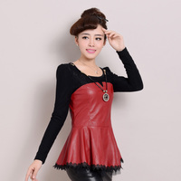 2013 Winter New Korean PU Washed Leather Stitching Lace Mesh Backing Shirt Long Sleeve Thick Velvet