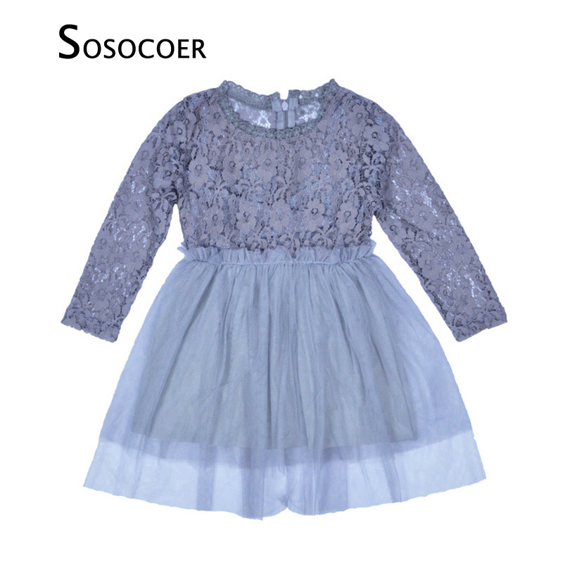 SOSOCOER Baby Girl Dress Spring Autumn Lace Long Sleeve Kids Dresses Flower Girl Princess Party Dress Gray Toddler Girls Clothes spring autumn cute baby kids girls party dress kids clothes cotton toddler girl clothing long sleeve baby girl princess dress