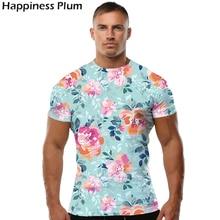 Розовый цветок футболка Модная футболка Для мужчин короткий рукав 3D Футболка с принтом летняя футболка Топ хип-хоп футболки мужской футболки бренда S 4XL