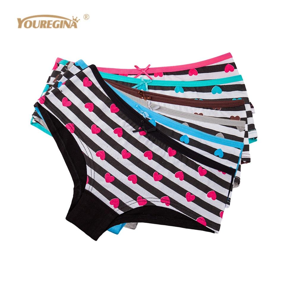 08f0ba00d0f91a Detail Feedback Questions about YOUREGINA Cotton Underwear Women Striped  Heart Print Sexy Seamless Panties Ladies Briefs Boxer Boyshorts Intimates 6  pcs/lot ...