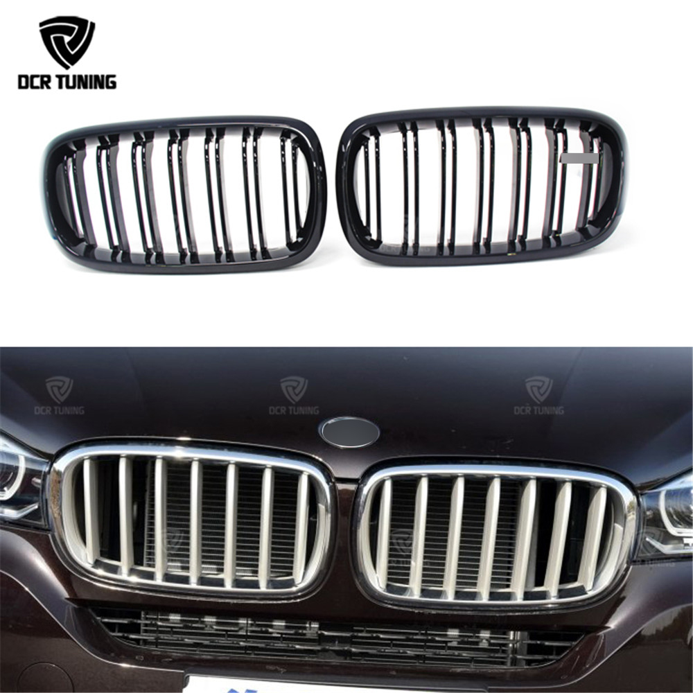 For BMW X5 F15 X6 F16 2014 2015 - on Dual Slats Gloss Black Plastic + Carbon Fiber Front Grille With Three Color x5 f15 x6 f16 abs gloss black grill for bmw x5 x6 f15 f16 front bumper grille kidney mesh