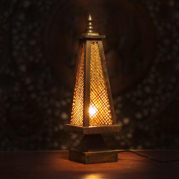 Уникальный бамбука настольная лампа спальня ночники античный освещение