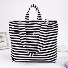 цена на 2019 Canvas Fashion Durable Women Black and white stripes Shoulder Bag Shopping Tote Flax Cotton Shopping Bags Maximal
