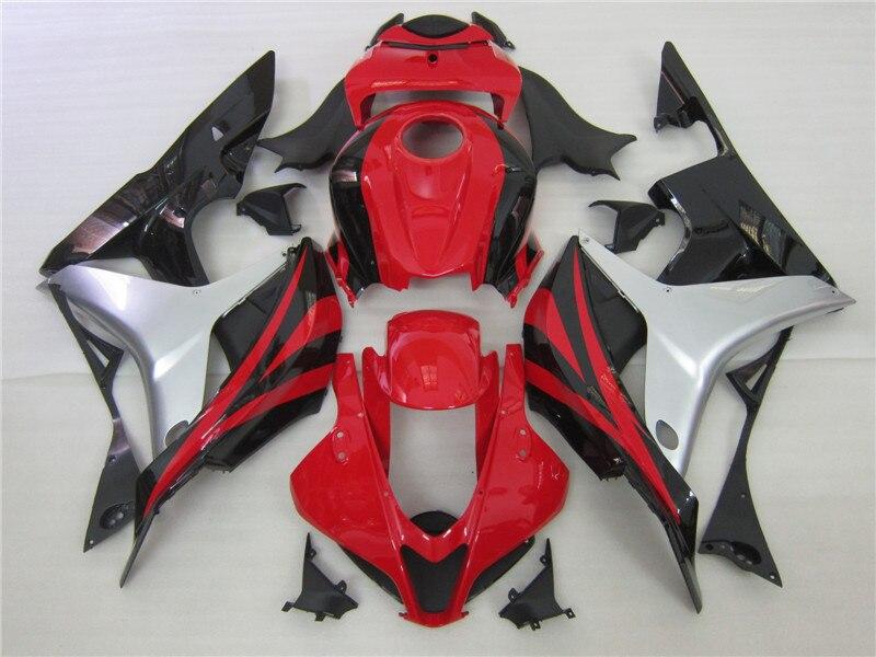 Rosso argento nero carena kit per HONDA CBR 600 RR 2007 2008 di stampi Ad Iniezione carenature cbr600rr 07 08 CBR 600RR personalizza libero
