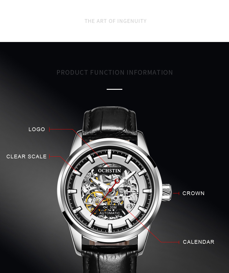 OCHSTIN Automatic Mechanical Mens Watch Top Brand Luxury Military Army Sport Wristwatch Genuine Leather Skeleton Male Clock 2002