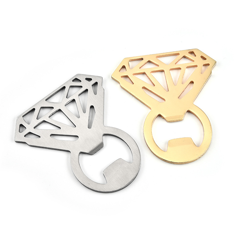 500Pcs/lot Diamond Ring Wine Beer Bottle Openers Wedding Favors And Gifts Steel Bottle Opener For Home Kitchen Bar Tools
