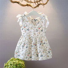 Summer Party Clothing For  Baby Girls Toddler Kids Sleeveless Ribbons Bow Floral Dress Princess Dresses