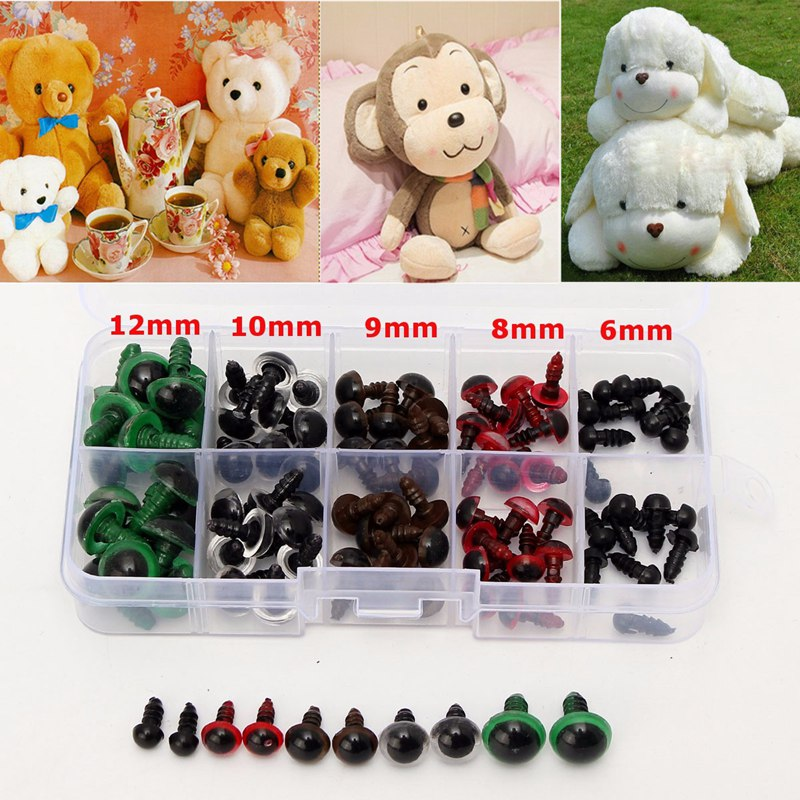 6-12mm 100pcs Plastic Safety Eyes For Animal Puppet Crafts Teddy Bear Colorful Safety Eyes Doll Cartoon Animal Puppet Crafts wiben animal hand puppet action
