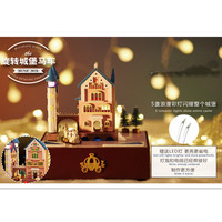Creative DIY Wood Doll House Music Box Toys for Children's Gift,Castle Rotating Carriage Dollhouse Miniature Toys Free Shipping