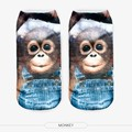 New 3D Printed Animal Unisex Cute Low Cut Ankle Socks Multiple Colors Harajuku Style monkey