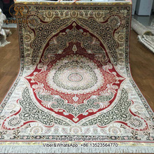 Yilong 5'x7′ red pure silk oriental persian handknotted carpet handmade silk area rug (S06A5x7)