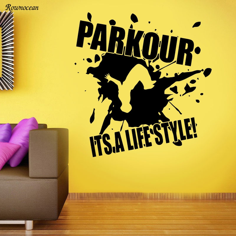 Parkour Wall Decal Extreme Sport Vinyl Sticker Gym Poster Decor Art Mural Z131