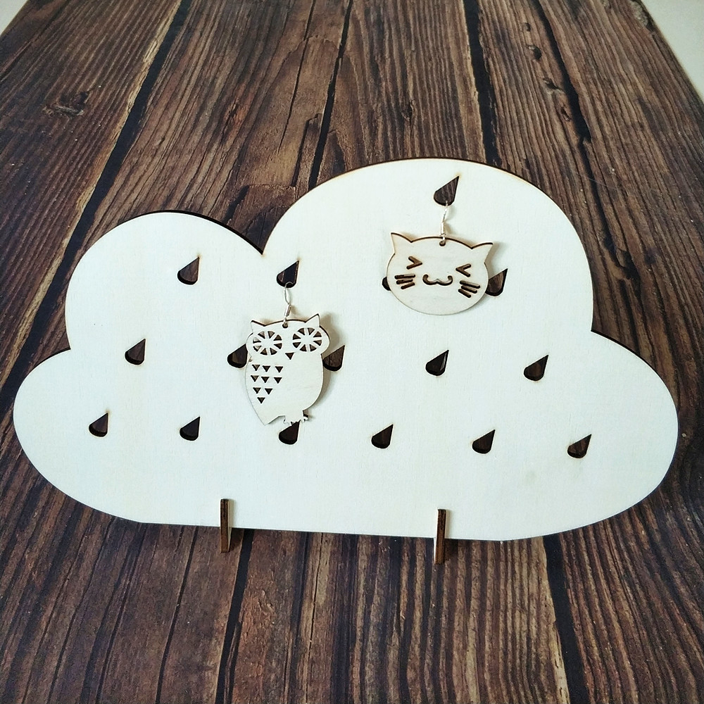 Jewelry Storage Organizers Modern Earring Holder Unique Wood Jewellery Stand Wooden Cloud Shape Jewellery Holder Laser Cut Wood Diy Crafts Aliexpress