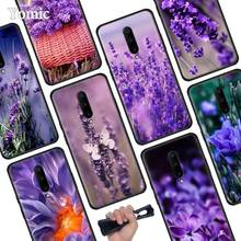 Simple lavender Purple flowers Black Soft Case for Oneplus 7 Pro 7 6T 6 Silicone TPU Phone Cases Cover Coque Shell