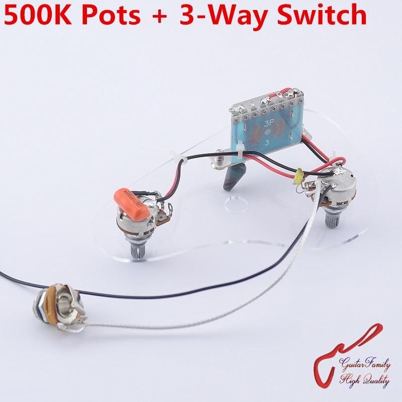 1 Set GuitarFamily Electric Guitar Wiring Harness ( 2x 500K Pots  3 Way Switch  Jack ) ( #1161