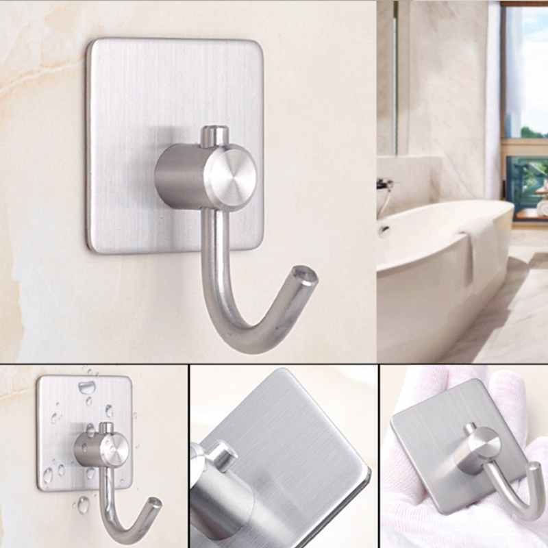Adhesive Sticker Hooks On The Wall Stainless Steel Rustproof Hook Wall Door Clothes Towel Hanger