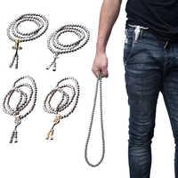 Haute qualité en plein air 108 bouddha perles auto-défense main Bracelet collier chaîne pleine chaîne en acier Protection personnelle fournitures